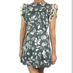 DVF 2 gray floral cotton lace mini dress tunic